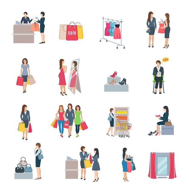Set van kleur plat pictogrammen beeltenis vrouw winkelen selectie kleding schoenen tas in winkel Gratis Vector
