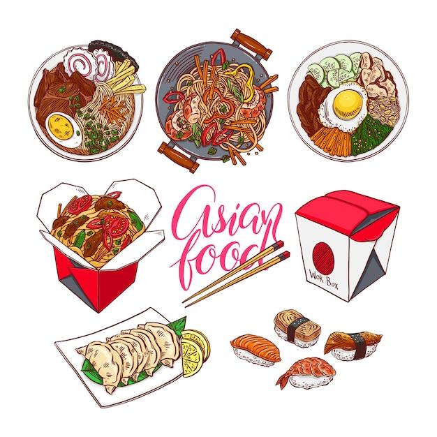 Set van kleurrijke aziatische gerechten. bibimbap, gedza, ramen en sushi. handgetekende illustratie Premium Vector