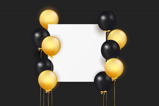 Set van kleurrijke ballonnen met confetti en lege ruimte voor tekst. vier een verjaardag, poster, banner gelukkige verjaardag. realistische decoratieve designelementen. feestelijke achtergrond met helium ballonnen Premium Vector