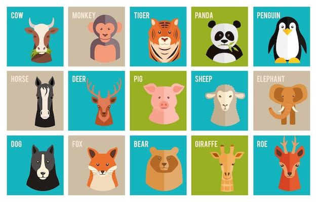 Set van kleurrijke benoemde cartoon vector iconen van dieren en huisdieren in vlakke stijl met de hoofden van een paard koe aap tijger panda pinguïn hert ree varken schapen olifant hond fox beer en giraffe Gratis Vector