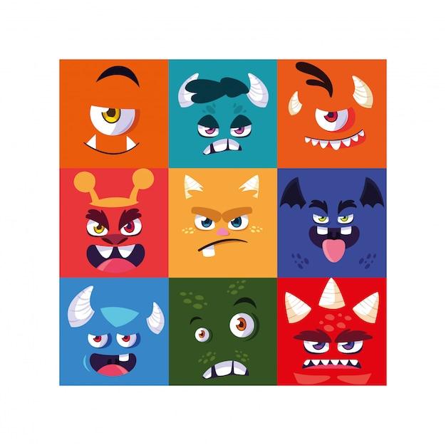 Set van kleurrijke buitenaardse monsters Premium Vector