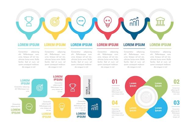 Set van kleurrijke doelen infographics Gratis Vector