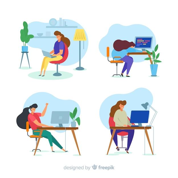 Set van kleurrijke geïllustreerde programmeurs werken Gratis Vector