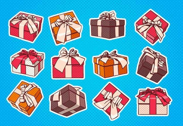 Set van kleurrijke gift box pop-art retro stijl van presenteert met lint en strik op blauwe achtergrond Premium Vector