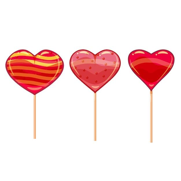 Set van kleurrijke hartvormige lollys. goed voor valentijnsdagontwerp. cartoon stijl, vector, geïsoleerd Premium Vector