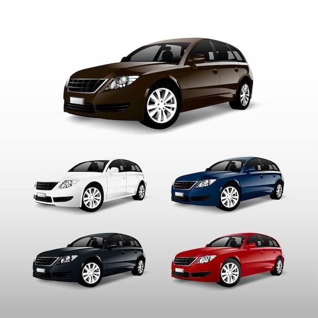Set van kleurrijke hatchback auto vectoren Gratis Vector