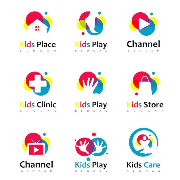 Set van kleurrijke kinderen logo Premium Vector