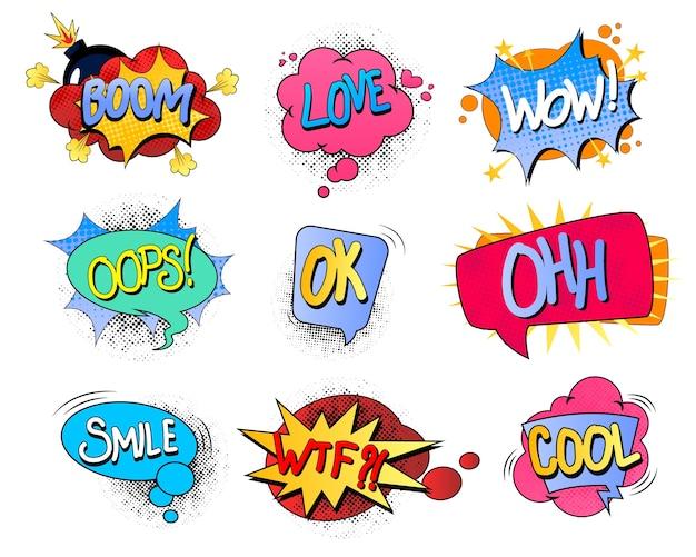 Set van kleurrijke komische tekstballonnen Premium Vector