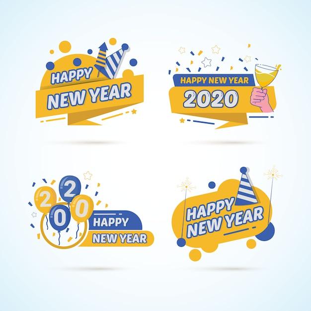 Set van kleurrijke nieuwe jaar 2020 op stickers labelontwerp Premium Vector