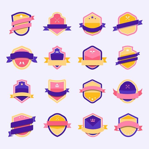 Set van kleurrijke schild pictogram verfraaid met banner vectoren Gratis Vector