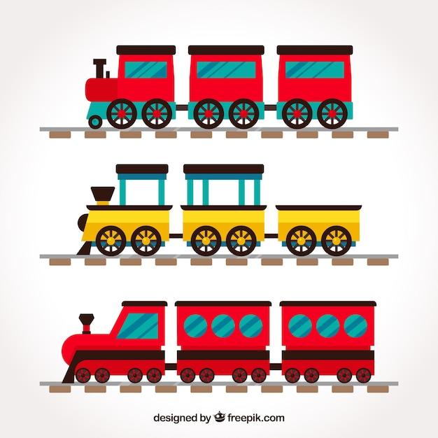 Set van kleurrijke treinen met vlak ontwerp Gratis Vector