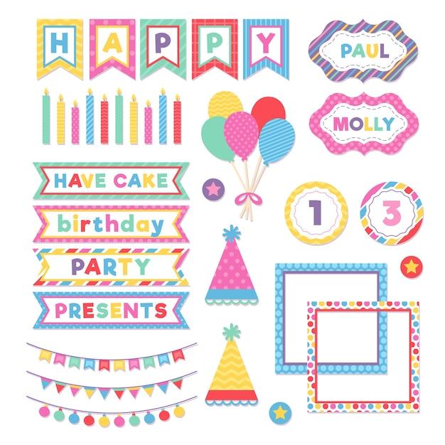 Set van kleurrijke verjaardag plakboek Gratis Vector