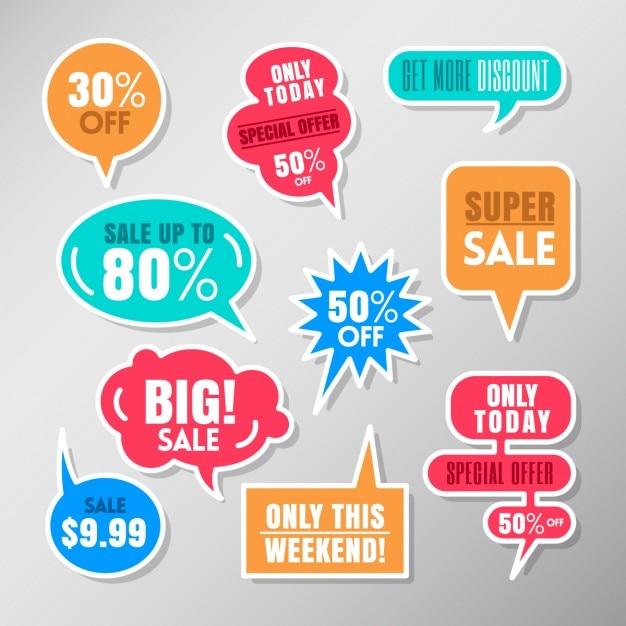 Set van kleurrijke verkoop labels ballon tekstballonnen ontwerpelementen Gratis Vector