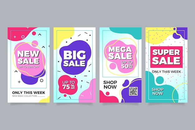 Set van kleurrijke verkoop voor instagram Gratis Vector