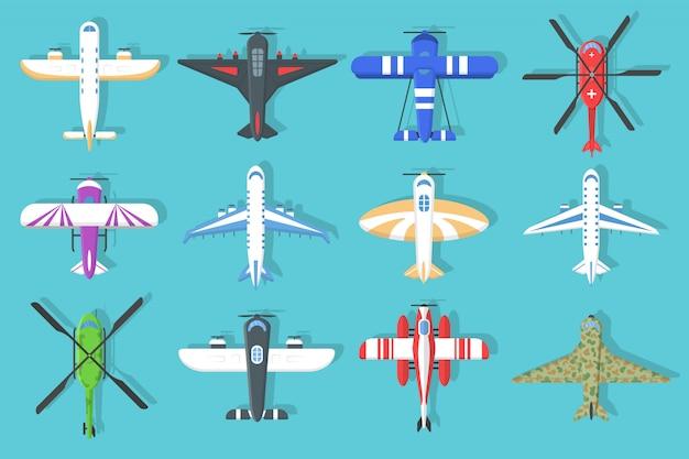Set van kleurrijke vliegtuigen en helikopters iconen. vliegend vliegtuig in de lucht in een vlakke stijl, bovenaanzicht. vliegtuigen en militair vliegtuig, helikopters collectie. vliegreizen. Premium Vector