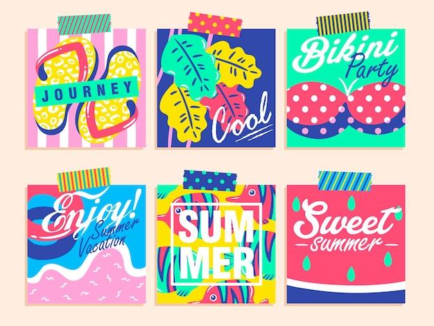 Set van kleurrijke zomerontwerpen Premium Vector