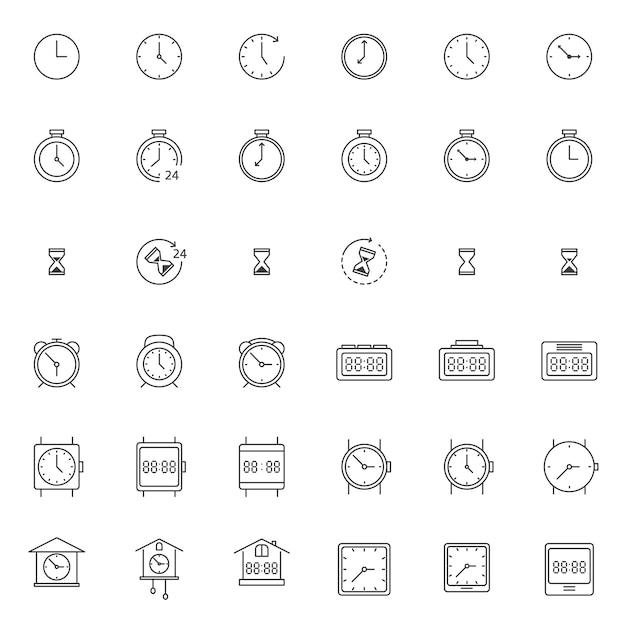 Set van klok en horloge pictogram Premium Vector