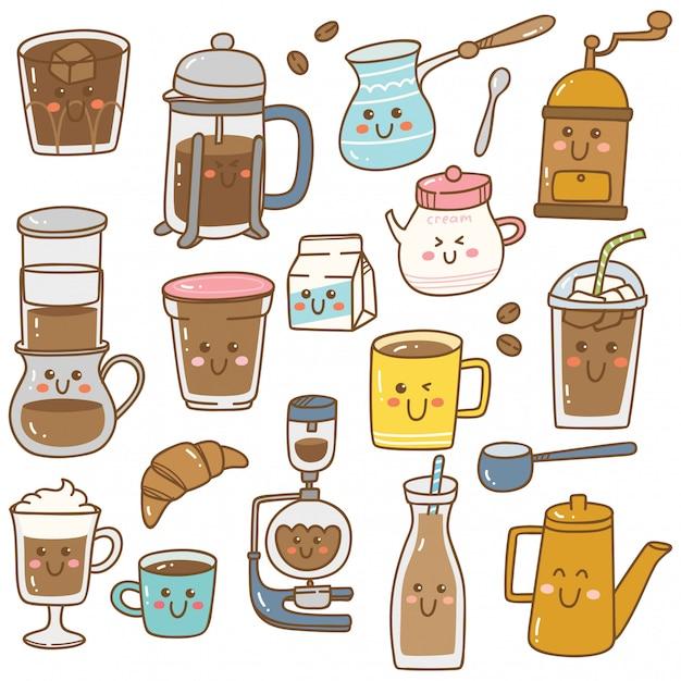 Set van koffie-apparatuur in doodle stijl van kawaii Premium Vector