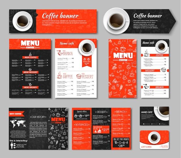 Set van koffie huisstijl Premium Vector