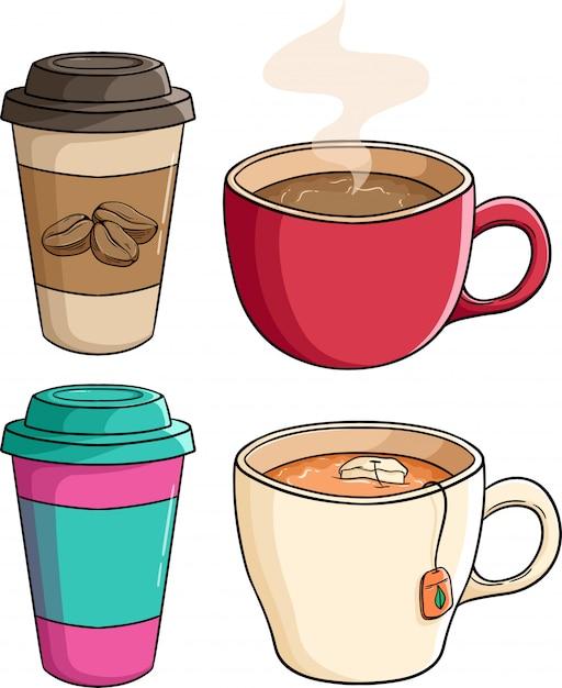 Set van koffie papieren beker met thee beker met behulp van gekleurde doodle stijl Premium Vector