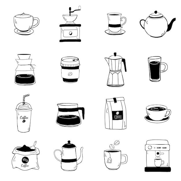 Set van koffie winkel iconen vector Gratis Vector