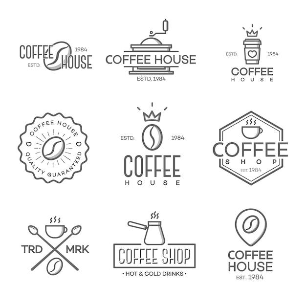 Set van koffie winkel logo geïsoleerd Premium Vector