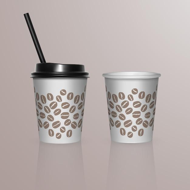 Set van koffiekopjes - witte kartonnen koffiekopjes. sjabloon voor wegwerp plastic en papieren servies voor warme dranken, Premium Vector