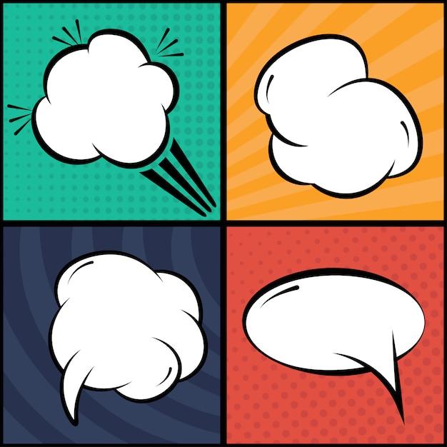 Set van komische bubbels en elementen in pop-art, met halftone schaduwen. vectorillustratie Premium Vector