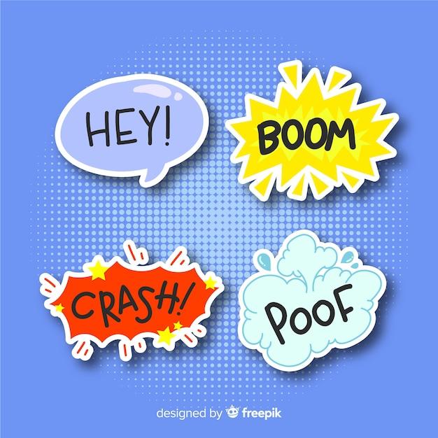 Set van komische tekstballonnen Gratis Vector