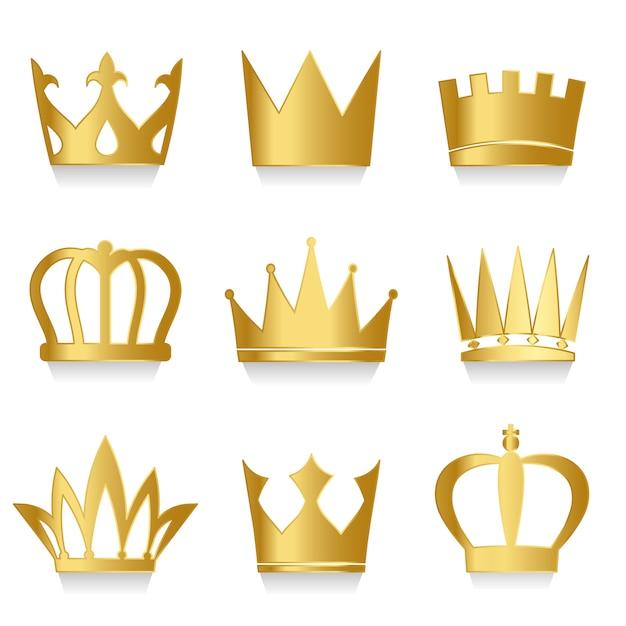 Set van koninklijke kronen vector Gratis Vector