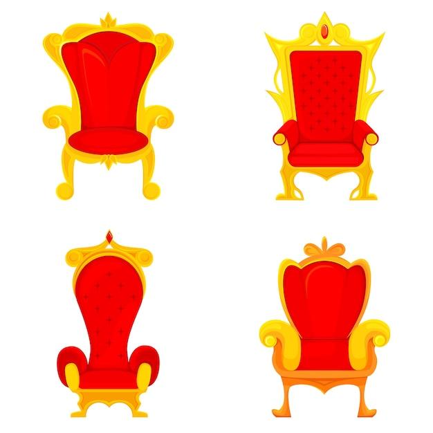 Set van koninklijke tronen in cartoon stijl. rode en gouden koningsstoelen. Premium Vector