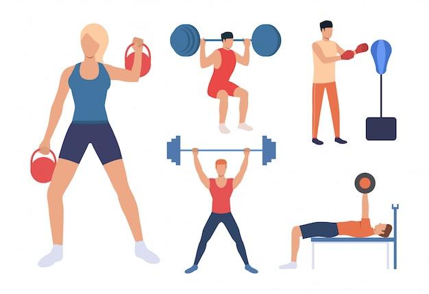 Set van krachttraining. mannen en vrouwen die gewichten opheffen Gratis Vector