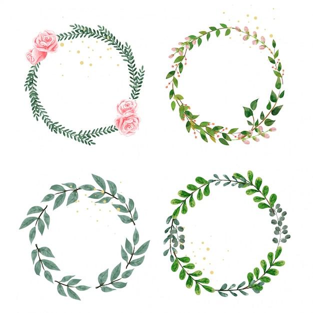 Set van krans versieren met bladeren en bloemen. Premium Vector