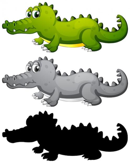 Set van krokodil karakter Gratis Vector
