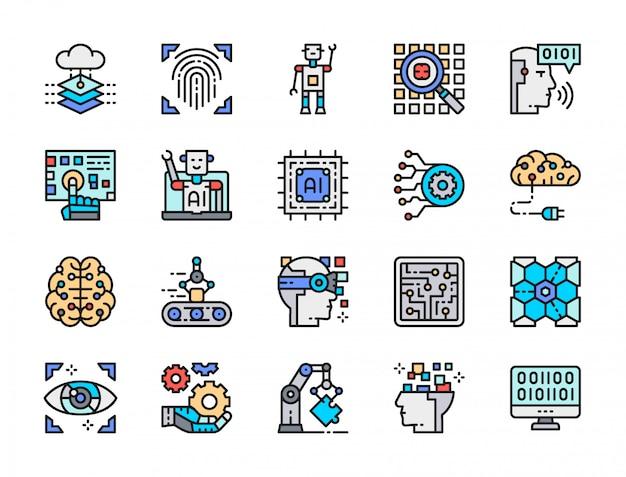 Set van kunstmatige intelligentie color line icons. engineering, transportband, big data Premium Vector