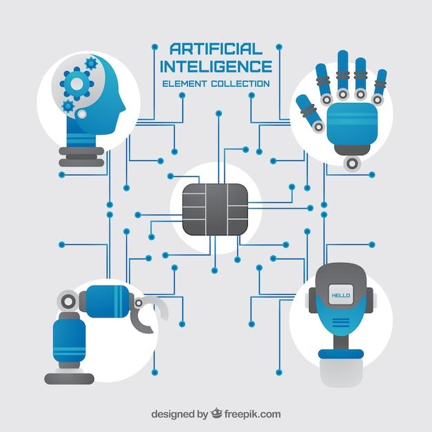 Set van kunstmatige intelligentie elementen in platte ontwerp Gratis Vector