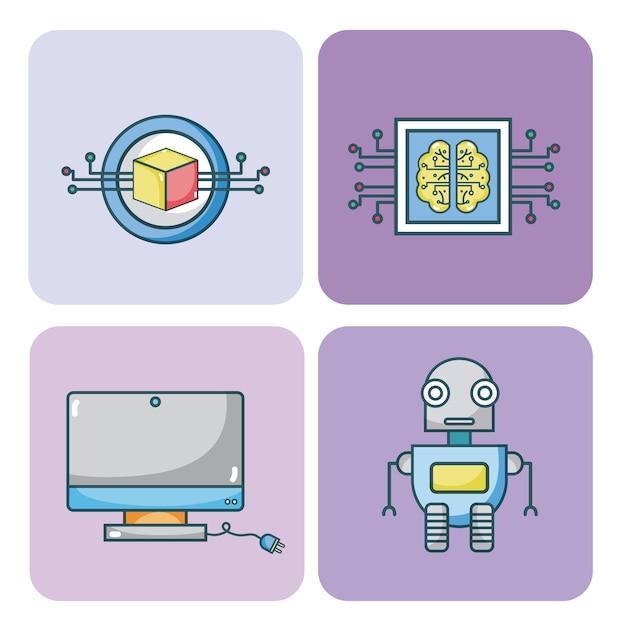 Set van kunstmatige intelligentie iconen collectie Premium Vector