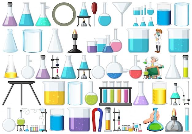 Set van laboratoriumapparatuur Gratis Vector