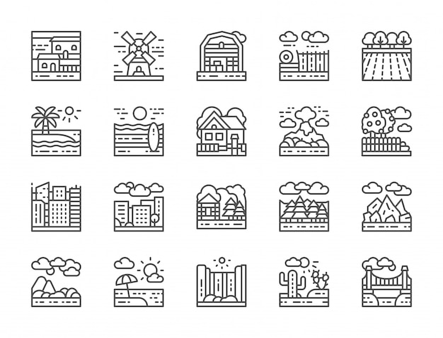 Set van landschap lijn iconen Premium Vector