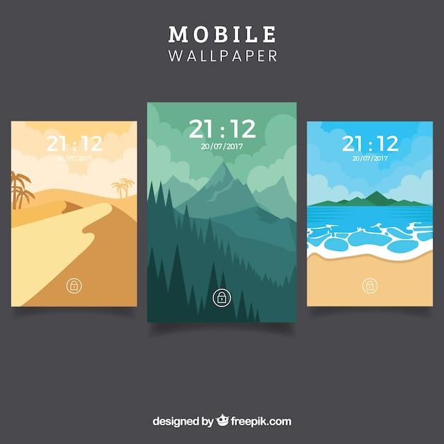 Set van landschap wallpapers voor mobiel Gratis Vector