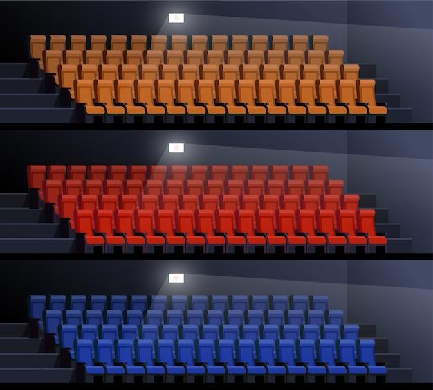Set van lege bioscopen vectorillustratie. lege stoelen in beeldpaleis. cinema interieur Premium Vector