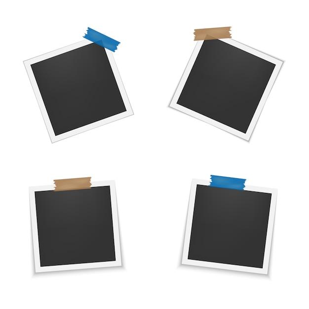 Set van lege fotolijsten met schaduw. Premium Vector