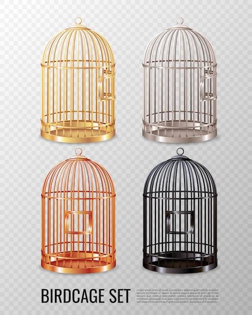 Set van lege gesloten kanarie vogelkooi Gratis Vector