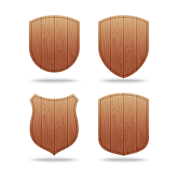 Set van lege houten vormen Premium Vector
