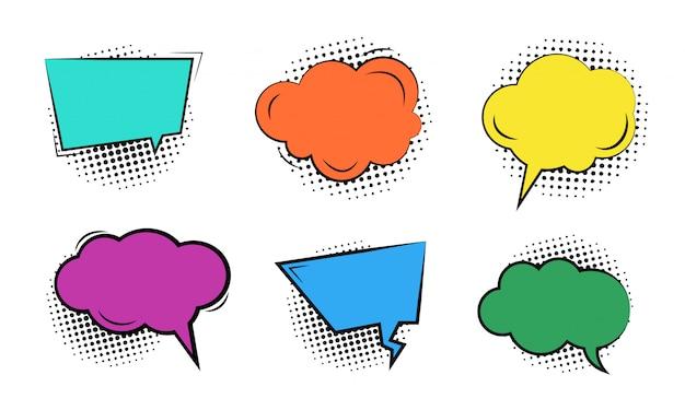 Set van lege kleurrijke cartoon bubbels Premium Vector