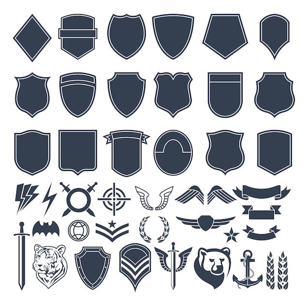 Set van lege vormen voor militaire badges. leger monochrome symbolen Premium Vector