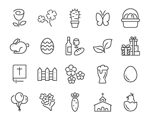 Set van lente pictogrammen, oogst, boerderij, pasen, bloem, regen, tuin Premium Vector