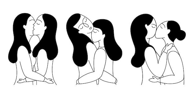 Set van lesbische koppels. Premium Vector