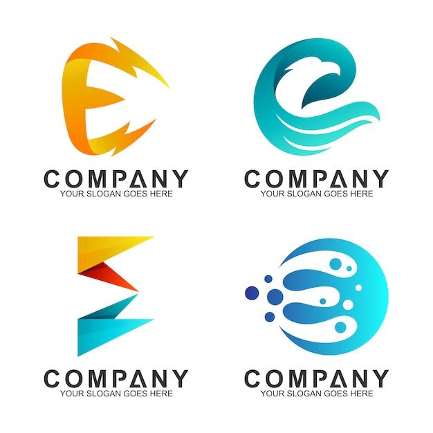Set van letter e logo ontwerpsjabloon Premium Vector