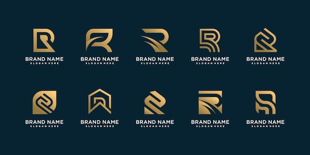 Set van letter r logo collectie met gouden concept voor advies, initiële, financiële onderneming Premium Vector